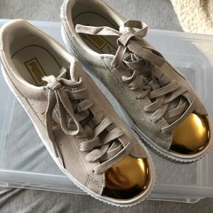 Puma platform suede sneakers with gold